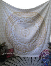 Queen Size Indian Tapestry Golden Mandala Throw Wall Tapestry Hippie Bohemian