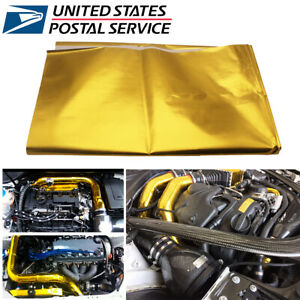 """39""""x47"""" Universal SELF ADHESIVE REFLECT HEAT WRAP BARRIER FOR THERMAL EXHAUST"""