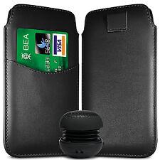 CARD SLOT PU LEATHER PULL FLIP TAB CASE & SPEAKER FOR BLACKBERRY SETS