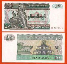BIRMANIE BURMA MYANMAR Billet neuf de 20 KYATS Pick72 ELEPHANT FONTAINE 1994