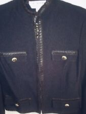 ST JOHN KNIT SUIT BROWN WITH LEATHER TRIM JACKET SIZE 8 SKIRST SIZE 10