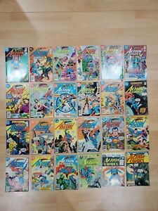 Lot Of 24 Vintage Superman Action Comic Books Great Lot For Collection or Resale