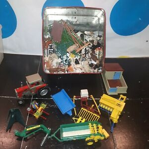 Job Lot Britains & Others Farm Toys - Tractor, Bailer, Tipping Trailer + Animals