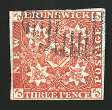 New Brunswick #1 3p Orange Red 1851 Used Rare