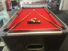 Refurbished DPT 6ft Slate Bedded Pool Table Red / mahog coin op / Freeplay