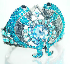 Turquiose Blue Trendy Gold plated Friendship Love Rhinestone Party Bangle