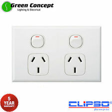 NEW Slim Line Double Power Point GPO Socket Outlet Powerpoint White CLIPSO