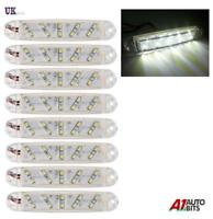 8x 12V 24V 10 LED Front Side Marker White Lights Lamps For Trailer Truck Lorry