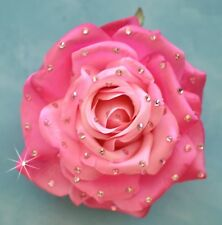 "5"" Pink Rose Swarovski Rhinestone Silk Flower HAIR Clip BROOCH Pin Handmade"