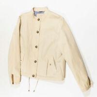 Massimo Dutti 100% Cotton Khaki Button Front Cinch Waist Long Sleeve Jacket Coat