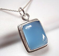 Chalcedony Simple Rectangle Pendant 925 Sterling Silver New