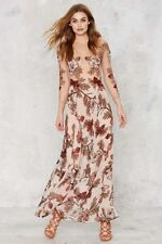 For Love and Lemons Anthropologie Sierra Silk Blush Floral Maxi Dress Sz M *M4/8