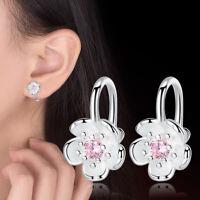 925 Sterling Silver Crystal Flower Ear Clip Earrings Women Jewelry Party Gift