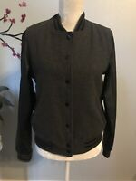 Forever 21 Ladies Juniors Wool Jacket With Faux Leather Sleeves, Size M Gray