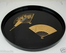 VINTAGE 1986 ANA HOTEL TOKYO JAPAN BLACK LACQUER TRAY GOLD FAN DECOR