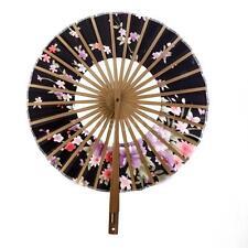 Vintage Japanese Sakura Windmill Silk Bamboo Folding Hand Held Fan Girl Gift