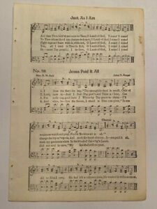 1 piece antique Hymn JESUS PAID IT ALL Easter song music ephemera crafts #3238B