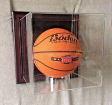 Premium Wall Mount Basketball Display Case, Mahogany frame w/ black background