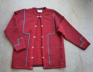 """Norlfender Norway Dark Red Wool Cardigan Sweater Women's Size XXL? - Chest 48"""""""
