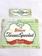 Vintage Shiner Texas Special Beer Bottle Can Label 12oz Spoetzl Brewery Nexkband