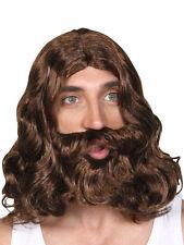 60s 70s Hippy Hippie Or Jesus Prophet Brown Wig And Beard Fancy Dress Religious