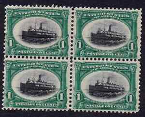 US 294 1c green & black Steamer ship Block of four 4 margins mint OG hint of H
