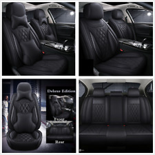 5-Seats Deluxe Edition Car Seat Cover Cushion Front + Rear PU Leather w/Pillows