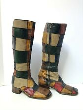Vintage Leather Patchwork Boots - circa 70s or 90s - Made in Italy - Womens 7.5