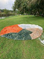 Us Military Multicolor Orange/White/Tan/Green Circular Parachute Canopy w/Lines