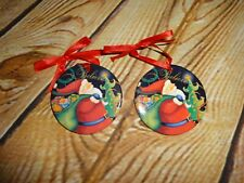 "BELIEVE Santa Claus Christmas Tree Ornament Set of 2 Ceramic Discs 2"" Red Ribbon"