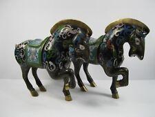 Chinese Feng Shui Cloisonne Enamel Gilt Tang Horse Horses Animal Statue Pair