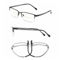 Mens Half Rimless Progressive Reading Glasses Multi Focus Readers Retro +1.0~3.0