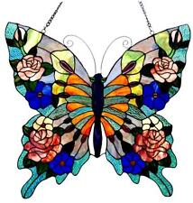 """Stained Glass Chloe Lighting Butterfly Window Panel 24 X 22.5"""" Handcrafted New"""