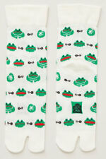 NEW Japanese Unisex Split Toe Tabi Socks Green Frogs Made in Japan
