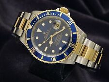 Rolex Submariner 18k Gold & Stainless Steel Watch Blue Sub No Holes SEL 16613T