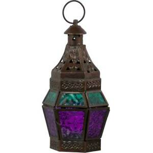 Guide Tea Light Lantern Made of Turquoise & Purple Glass & Metal