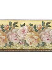 PINK CABBAGE ROSES ON PALE YELLOW SILK WALLPAPER BORDER