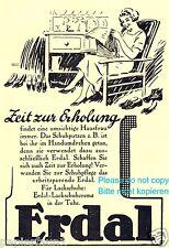Schuhpflege Erdal Reklame von 1926 Hausfrau Erholung Schuhe Entspannung Werbung
