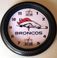 "CUSTOM MADE NFL DENVER BRONCOS ""SUPER BOWL 50"" 12"" WALL CLOCK - NEW IN BOX"