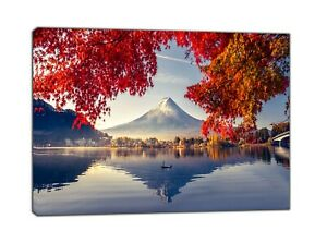 Colorful Autumn Season and Mountain Fuji with morning  Paint Print On Framed