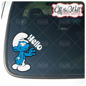 """Smurf """"Hello"""" Vinyl Decal Sticker"""
