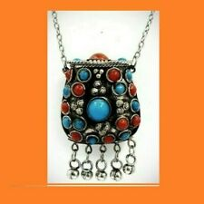 Tibetan Ethnic Coral & Turquoise Box Perfume Snuff Necklace With Bells