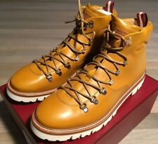 1,200$ Bally Mustard Leather Hiker Boots Size US 12.5 Made in Switzerland