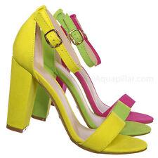 Mania03 Neon Block Heel Sandal - Women Open Toe Ankle Strap Shoe