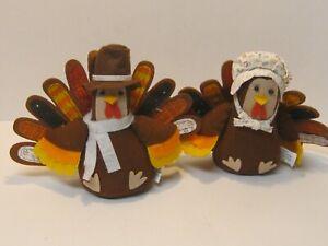 "2 Collectible 8"" Thanksgiving Pilgrim Fall Harvest Turkey Dolls Decoration Decor"