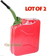 Lot Two RED 5 Gallon Jerry Can Gas Fuel Steel Tank Military Style W/Green Spout