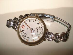 Switzerland MADE Antique red 12 dial wire lug Wizard Wristwatch
