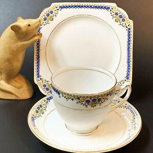 Vintage Balmoral English China Tea Cup Trio (CSP) Square Plate, Gilt & Blue Band