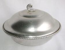 Aluminum Bowl Lid Wrought Farberware USA Hammered Scroll Handle Vtg Mid Century