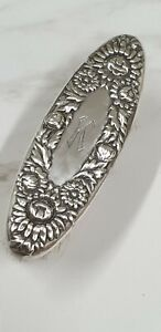 antique silver floral decorated small oval brush
